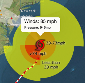 Understand Wind Risk shows 74mph winds for hurricanes in red, 39-73 mph winds in orange for Tropical Storm and less than 39 mph winds in yellow for tropical depression.
